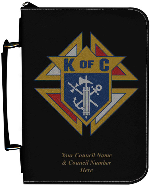 Personalized Bible Cover with Knights of Columbus Graphic - Black