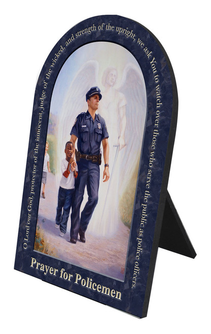 The Protector: Police Guardian Angel Arched Desk Plaque with Prayer for Policemen