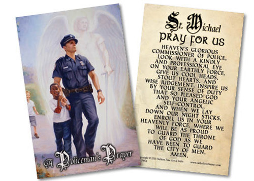 The Protector: Police Guardian Angel Holy Card with Prayer to St. Michael