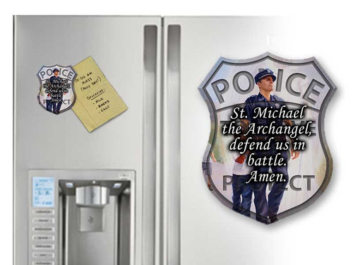 The Protector: Police Guardian Angel with St. Michael Prayer Magnet