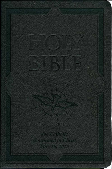 Laser Embossed Catholic Bible with Holy Spirit Cover - Black NABRE