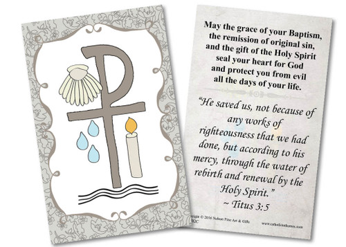 Baptismal Symbols Grey Holy Card