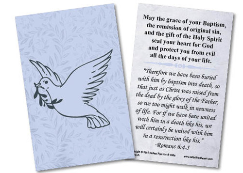 Dove Baptism Holy Card