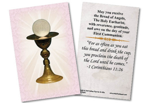 Chalice First Communion Pink Holy Card II