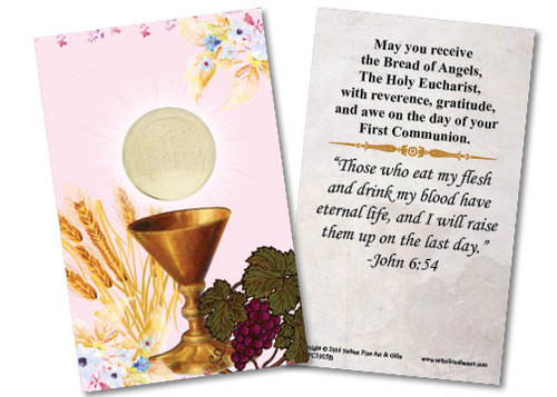 Chalice First Communion Pink Holy Card