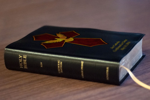Personalized Catholic Bible with Holy Spirit Cross Cover - Black Bonded Leather RSVCE