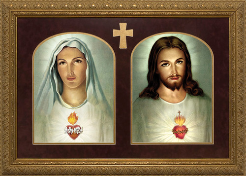Traditional Sacred & Immaculate Hearts - Matted and Gold Framed Art