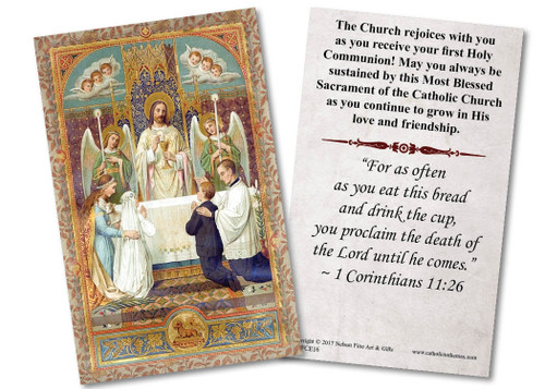 Traditional First Communion with Angels Holy Card