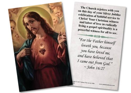 Sacred Heart Silver Jubilee Holy Card