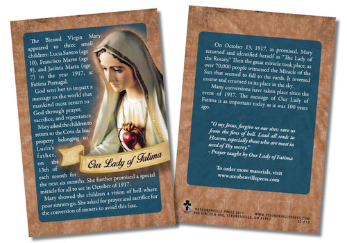 Our Lady of Fatima 100 Year Anniversary Faith Explained Card