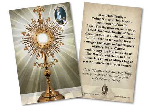 Fatima St. Michael Reparation Prayer Monstrance Holy Card