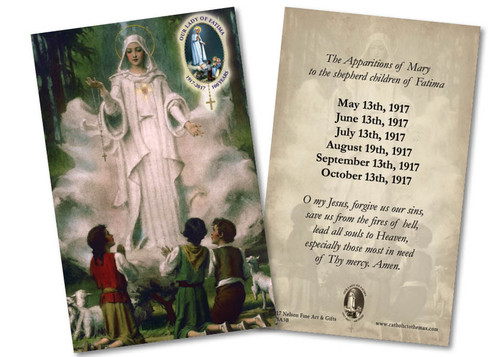 """Our Lady of Fatima in Cloud """"The Apparitions of Mary"""" Holy Card"""