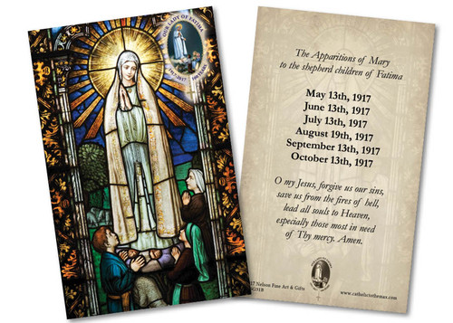 Our Lady of Fatima with Apparition and Prayer Holy Card