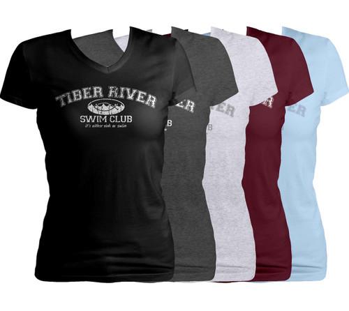 Tiber River Swim Club Women's Cut V-Neck T-Shirt