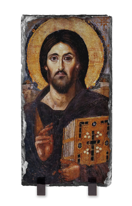 Christ Pantocrator Icon Vertical Slate Tile