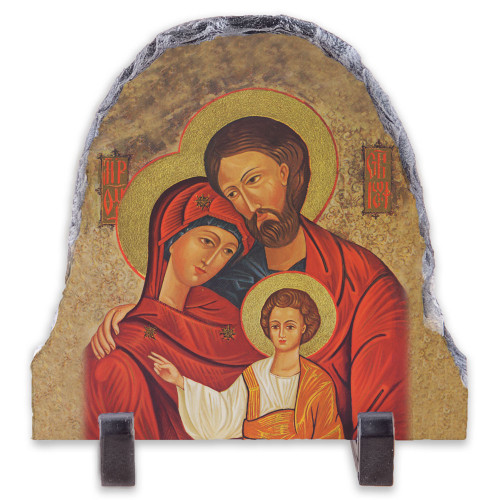 Holy Family Icon Arched Slate Tile