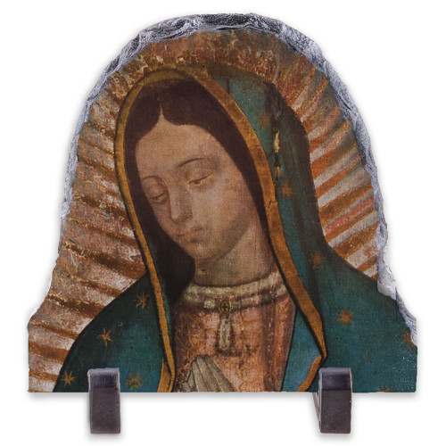 Our Lady of Guadalupe Detail Arched Slate Tile
