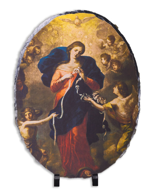 Mary Undoer of Knots Oval Slate Tile
