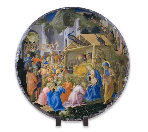 Adoration of the Magi Round Slate Tile