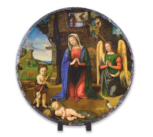 Nativity with Kneeling Angel Round Slate Tile