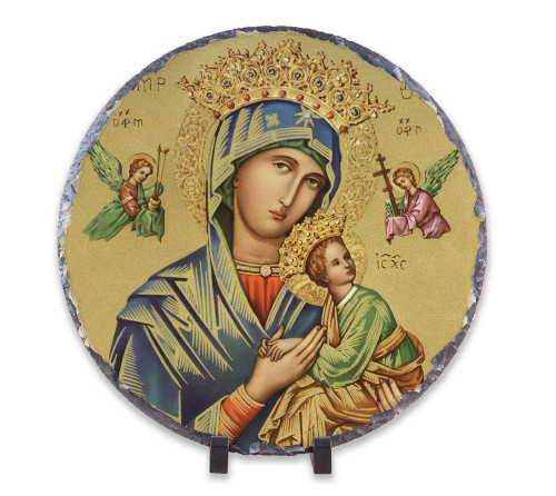 Our Lady of Perpetual Help (Gold) Round Slate Tile