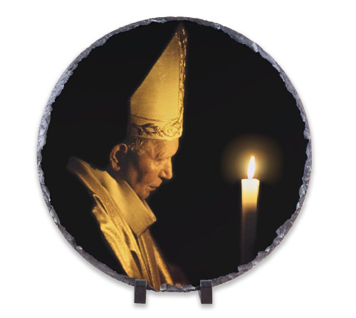 Pope John Paul II with Paschal Candle Round Slate Tile