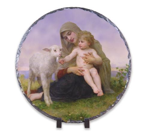 Madonna, Child, and Lamb Round Slate Tile