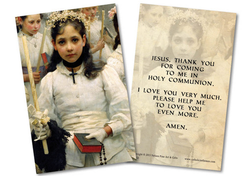 After the First Holy Communion (Detail 1 Girl) Holy Card