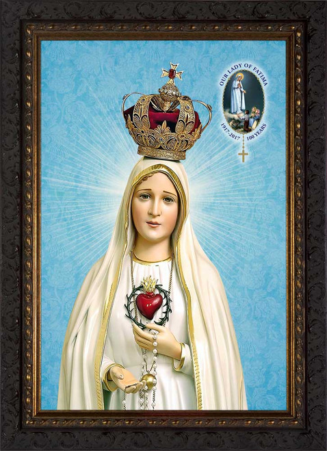 Fatima 100 Year Anniversary - Ornate Dark Framed Canvas