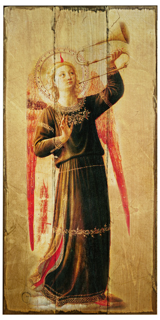 Fra Angelico Angel with Horn Rustic Wood Plaque