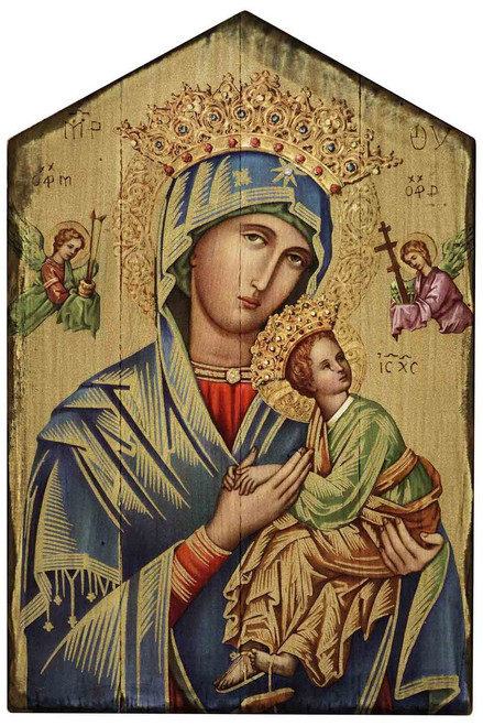 Our Lady of Perpetual Help (Gold) Rustic Wood Icon Plaque
