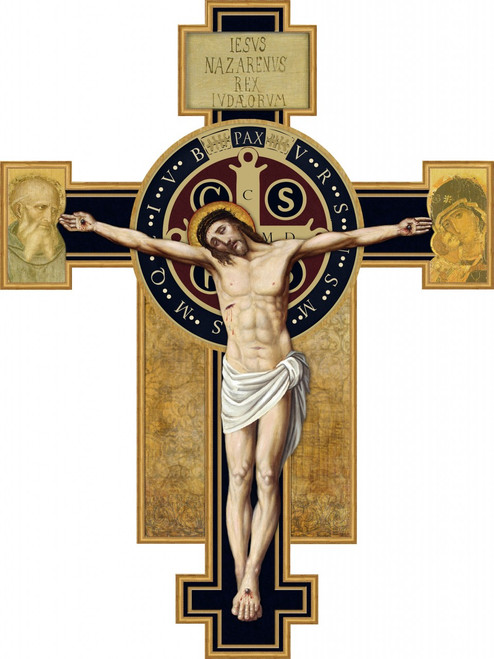 Benedictine Cross Oversized Wall Plaque Crucifix