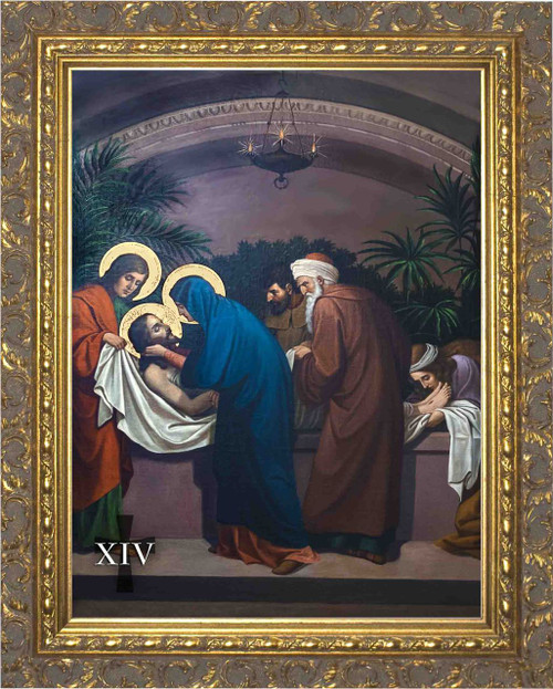 Emmerich Stations of the Cross in Ornate Gold Frames (Set of 14)