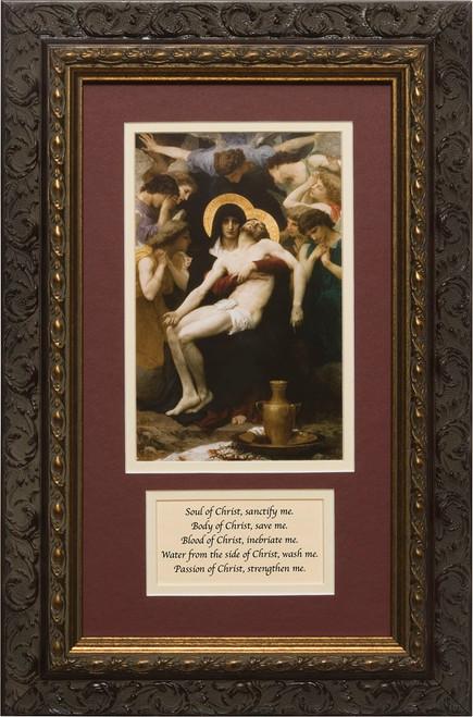 La Pieta Matted with Prayer - Ornate Dark Framed Art