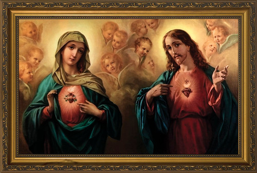 Sacred and Immaculate Hearts Framed Art