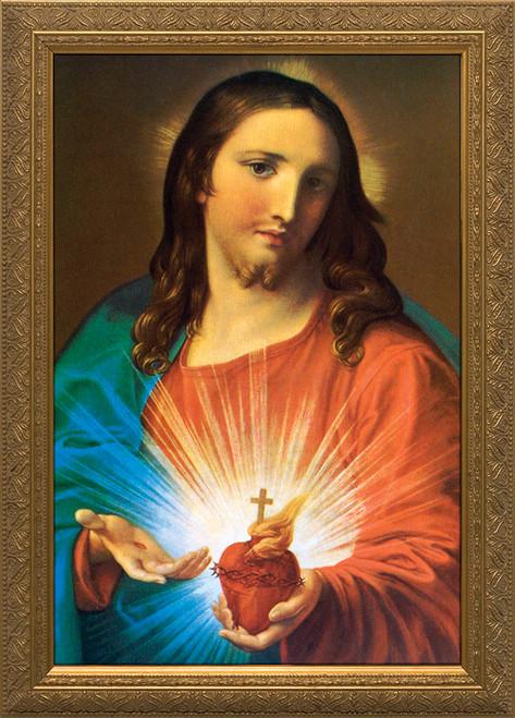Sacred Heart Holding Heart Framed Art