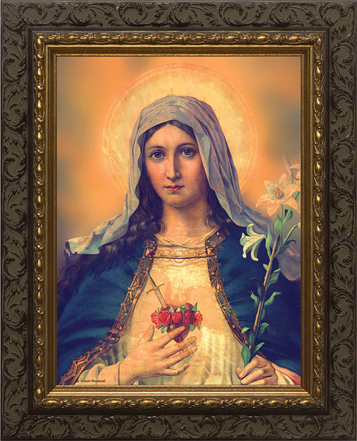 Antique Immaculate Heart - Ornate Dark Framed Art