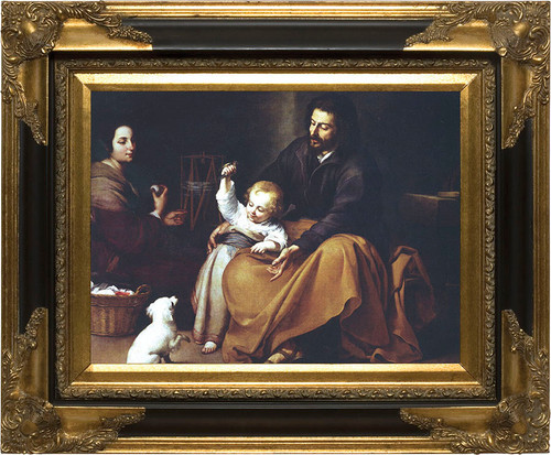 Holy Family with Small Bird by Murillo Canvas - Black and Gold Museum Framed Art