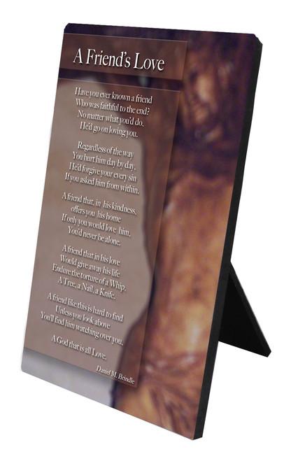 A Friend's Love Vertical Desk Plaque