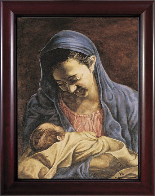 Madonna and Child by Jason Jenicke Cherry Framed Art (Limited Edition)