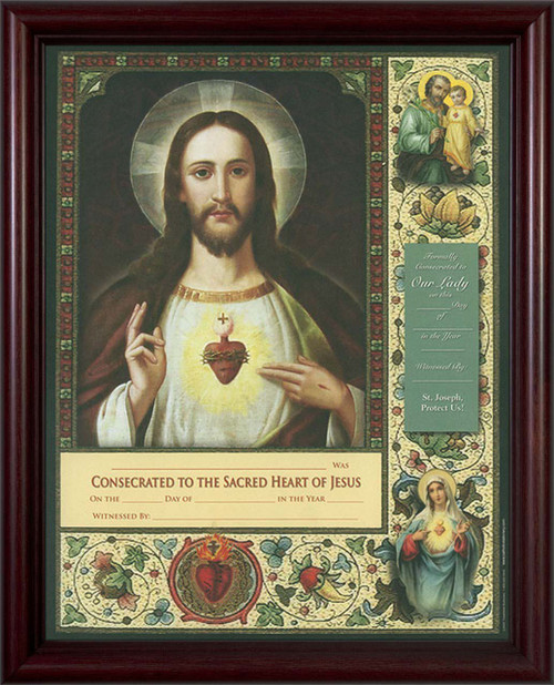 Consecration to the Sacred Heart Certificate Cherry Framed
