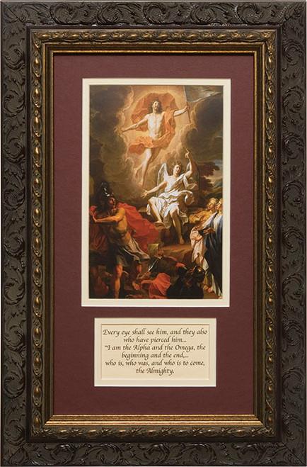 Resurrection of Christ by Coypel Matted with Prayer - Ornate Dark Framed Art