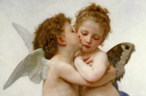 The First Kiss Print by Bouguereau