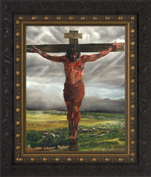 Crucifixion By Jason Jenicke Dark Framed Art