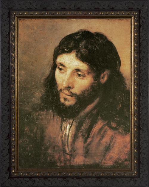 Head of Christ by Rembrandt - Ornate Dark Framed Art