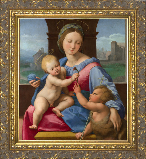 Madonna and Child with St. John the Baptist - Ornate Gold Framed Art
