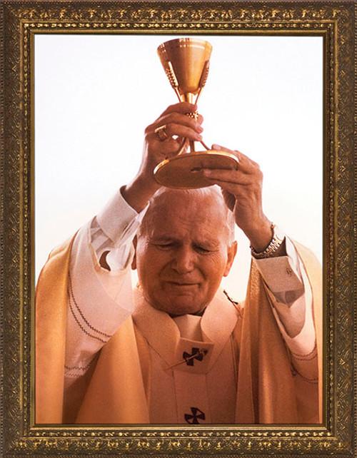 St. John Paul II Raising Chalice Standard Gold Framed Art