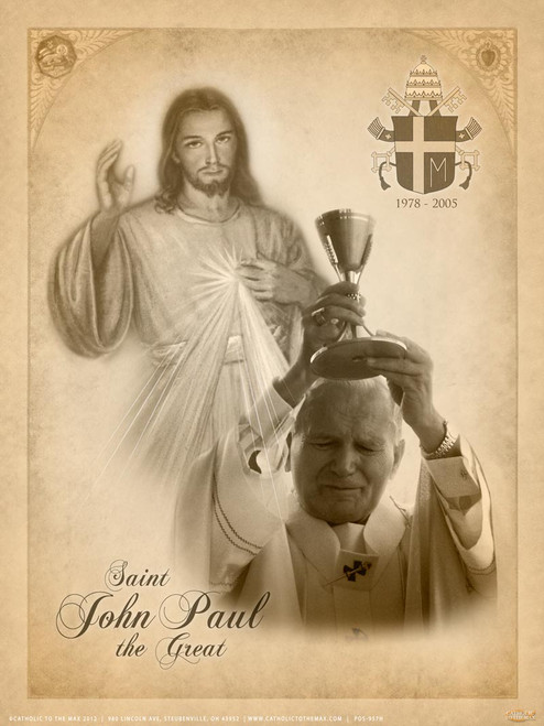 St. John Paul II and Divine Mercy Poster