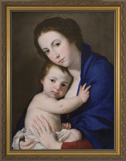 Blue Madonna and Child Framed Art