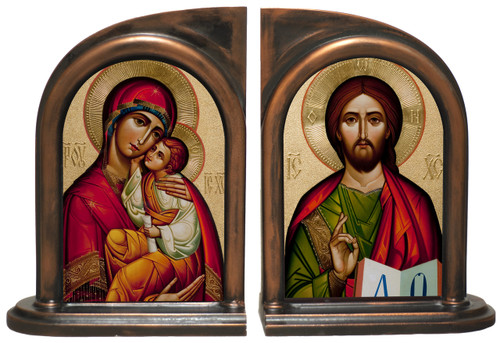 Byzantine Madonna and Christ Bookends